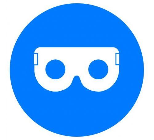 Знак Работать в защитных очках! d-150 с-к пленка
