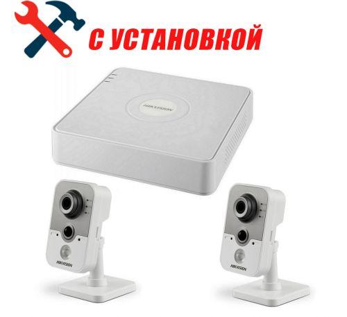 2 Мп Готовый комплект IP Wi-Fi видеонаблюдения на 2 камеры Hikvision