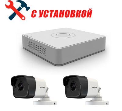 2 Мп Готовый комплект сетевого видеонаблюдения на 2 камеры Hikvision