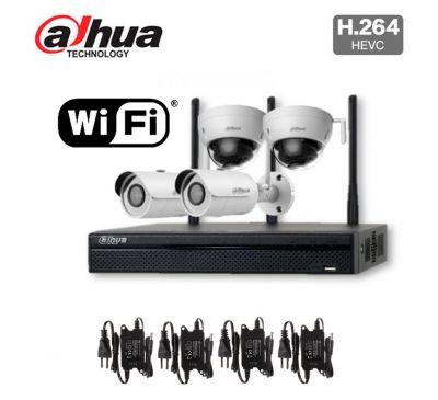 4 камерный уличный Wi-Fi комплект 4 Мп видеонаблюдения DH-NVR4104HS-W-S2/ IPC-HFW1435SP-W/ IPC-HDBW1435EP-W