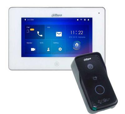 IP WiFi комплект для накладного монтажа видеодомофона Dahua DHI-VTO2111D-WP-VTH5221D