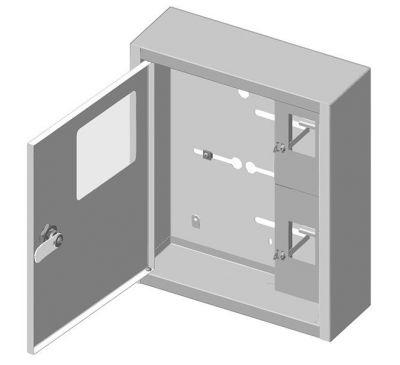 Ящик учета и распределения электроэнергии ЯУР-1В-10 (эконом) встраиваемый, 255x395x135
