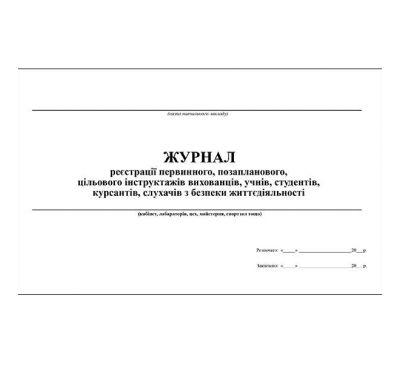 Журнал регистрации первичного, внепланового, целевого инструктажей